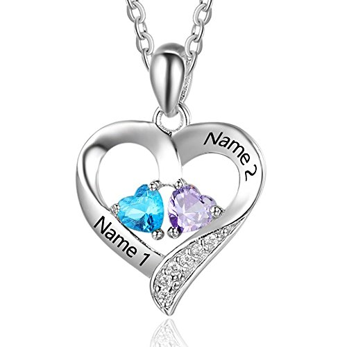 Personalized Love Heart Pendant Necklaces for Women Silver-tone Name Necklace with 5A Cubic Zirconia Birthstone Jewelry Gifts Birthday Gifts for Women/Mom/Wife/Girls/Sisters/Her (Design 1)