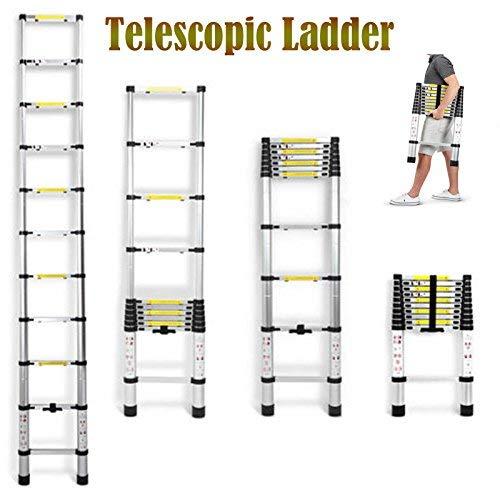Escalera telescópica de aluminio de 3,2m con 11 peldaños – escalera de goma antideslizante de 150 kg de capacidad: Amazon.es: Bricolaje y herramientas