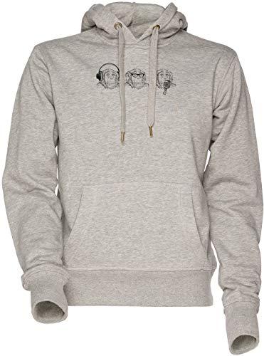 Oír Mal, Ver Mal, Hablar Mal Unisexo Hombre Mujer Sudadera con Capucha Gris Men's Women's Hoodie Sweatshirt Grey