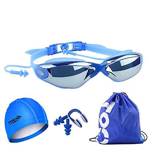 LBHH Set 5 pezzi Anti Fog Occhiali da Nuoto,Professionali Occhialini da Piscina,Anti-Appannamento Anti-perdite UV Visione Chiara Facile da Regolare per Uomo Donna Adulti e Adolescenti