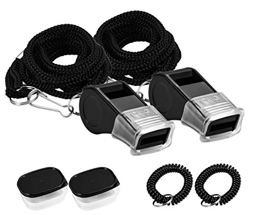 SUYAMI Sports Whistle with Lanyard & Mouth Grip & Wristband Coil & Waterproof Box, Perfect for Coaches, Referees, and Officials (2 Pack(Black))