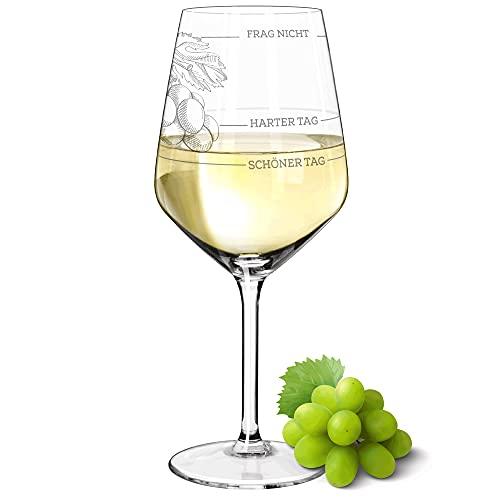 Copa de vino XL | Buen día, mal día, pregunta no (530 ml) | ¿Como era tu día? | Divertido regalo para mujeres y hombres | Regalo de cumpleaños divertido | Copas de vino blanco copas de vino tinto