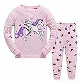 MingLaken Conjunto de pijama para niñas, ropa de dormir para niños de 2 a 7 años con estampado de animales de unicornio, Djs Winged - Rosa, 110 cm