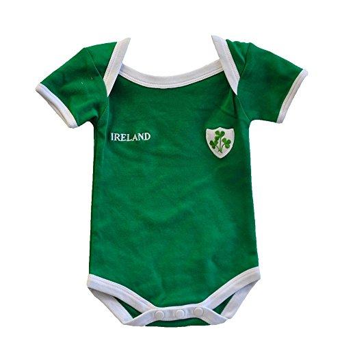 Grünes Irland Rugby Trägerhemd mit einem kleinen Ireland Druck und Shamrock Abzeichen (0/6 Months)