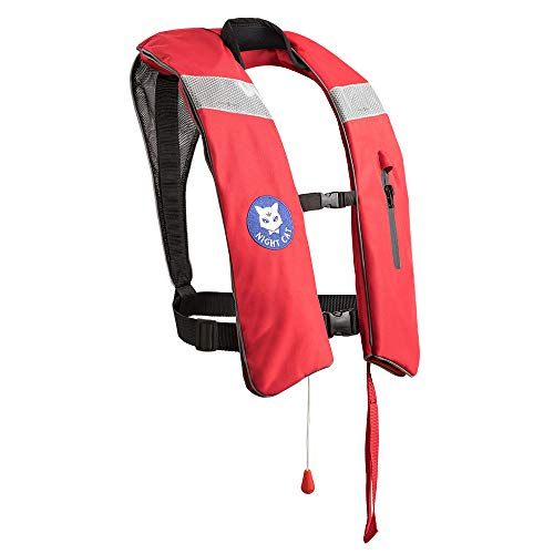 Night Cat [CE Approved] Life Jackets for Adults Kayaking Boating Vests Inflatable Lifesaving PFD,Survival Preservers,Lightweight Premium Quality,Manual,150KG/330LBS
