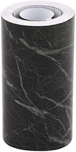 Fronteras del papel pintado, auto-adhesiva pared de la cintura, impermeable Vinilo fácil de usar mármol Negro Línea del borde Mobiliario de cocina Sala Pavimento Encimera decoración (10 cm x 5 m)