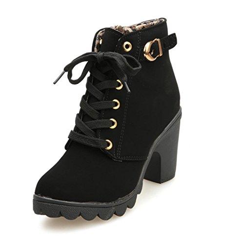 Btruely Hochhackige Stiefel Damen Winter Herbst Stiefel mit hohem Absatz Schnüren Stiefeletten Damen Schnalle Plateauschuhe (Schwarz, 37)