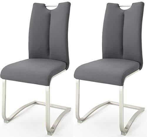 Robas Lund Esszimmerstühle 2er Set Grau, Schwingstuhl Esszimmerstuhl max. 140 Kg Belastbar, Stuhl Artos