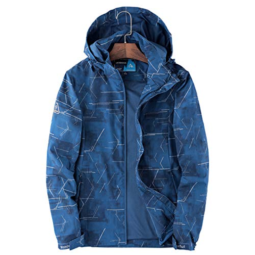 CIKRILAN Men's Outdoor Hooded Insulated Shell Mesh Lined Jacket Coat Windproof Hiking Camping Sportswear Windbreaker(L, Blue)