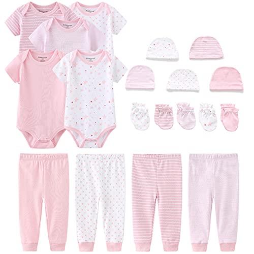 TONE Baby Bodys Kurzarm Hose Mütze und Fäustlinge Bekleidungsset für Neugeborene Jungen und Mädchen Baumwolle Rose 0-3 Monate