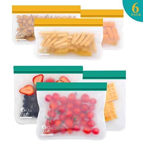 OrgaWise Bolsa Silicona Extra Grueso Cierre Hermético Doble, 6 Piezas Bolsas Alimentos Reutilizables Multifuncional de para Frutas y Carne Vegetales