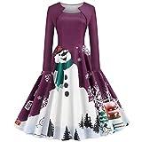 KHJH Trajes De Papá Noel,Disfraces De Navidad para Mujeres Adultas Muñeco De Nieve De Navidad Púrpura De Manga Larga Vestido De Cosplay De Papá Noel Sexy para Fiesta De Disfraces De Disfraces, XL