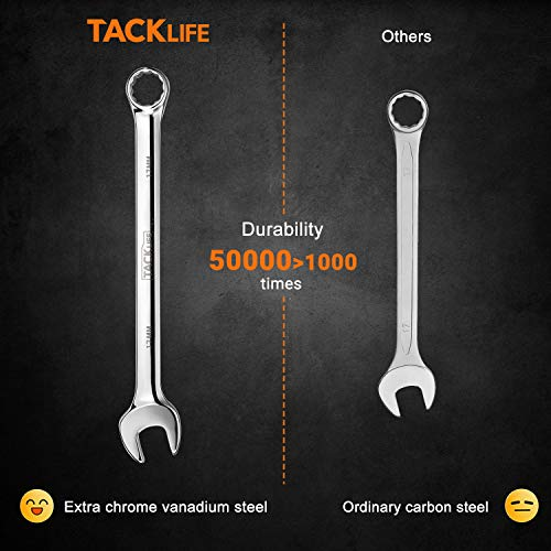 TACKLIFE 32PCS Combination Wrench Set Metric and Standard, 1/4-1 Inch, 7-22MM, Open End and Box End Wrench Set, Chrome Vanadium Steel With Tool Roll-TLWR01HD