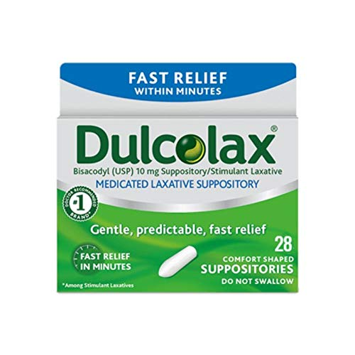 Dulcolax Fast Relief Medicated Laxative Suppositories, Bisacodyl, 10 mg, 28 Count