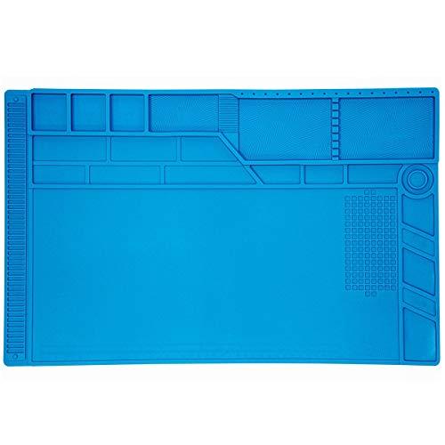 Minadax - Tappetino per riparazioni antistatiche XXL ESD, 55 x 35 cm, in silicone, 500°C, resistente al calore, antiscivolo
