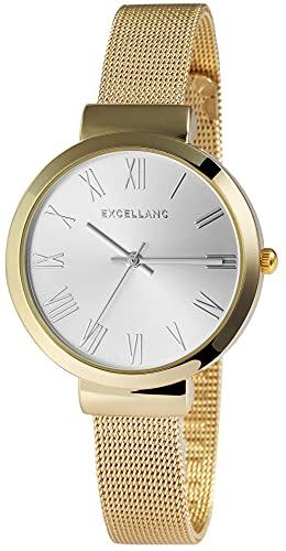 Excellanc Reloj de pulsera para mujer con pulsera de melanesa, plata y oro rosa, analógico, de cuarzo, números romanos.