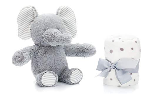 Fillikid Stofftier Elefant mit Decke, Plüsch Elefant für Babys ab 0 Jahre, Kuscheltier ca. 24 cm mit Schmusedecke für Jungen, Mädchen und Babys, Design:Elefant
