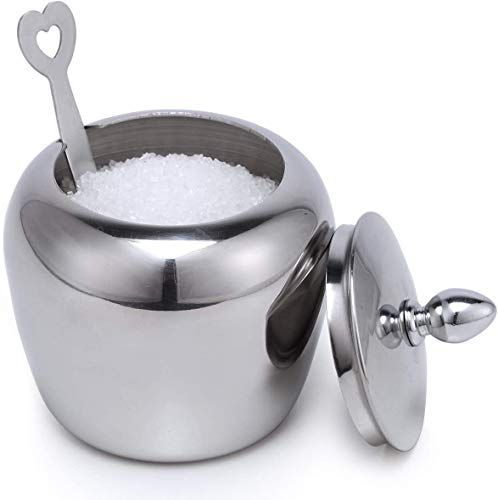 Small Stainless Steel Sugar Bowl with Lid and Sugar Spoon in Heart Shape for Kitchen and Home Chase Chic Sugar Holder in Apple Shape 7.2oz/215ml