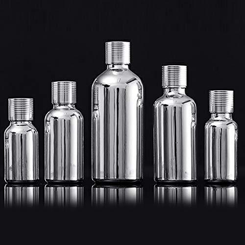 fuchsiaan Flacon vide portable en verre avec bouchon en verre pour huiles essentielles et parfums Argenté 15 ml