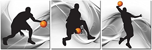 CUFUN Art Kunst-Basketball Sports Zeichen Leinwand Wand Kunst für Jungen Raum Baby Kinderzimmer Décor Kinder Basketball Jungen Geschenk, gray, black and orange, 30cm x 30cm x 3pcs