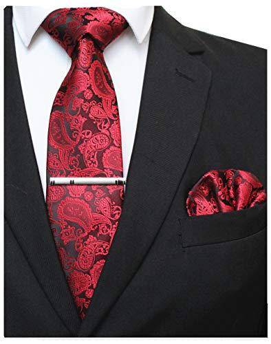 JEMYGINS Rot krawatte Paisley Seide Herren Krawatten und Einstecktuch mit krawattenklammer Sets (8)