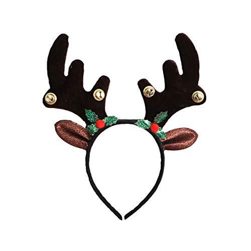 Cerchietto per capelli con corna di renna, per feste di Natale e Pasqua, con campanelle, orecchie di renna - nero - Medium