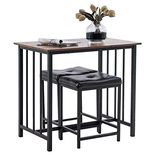 Mesa de Cama, Establecimiento de Mesa de Pub de 3 Piezas Altura de Contador Cocina Barra de Desayuno Mesa de Comedor con taburetes