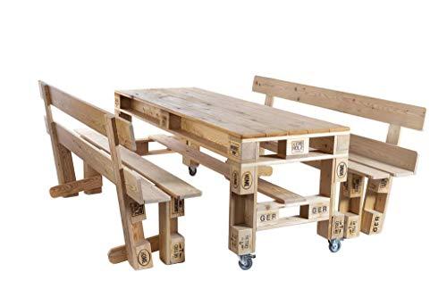 Palettenmöbel Tisch und Bänke/Garnitur in Palettenoptik aus sibirischer Lärche. Jedes Möbel ein veganes Unikat und in Handarbeit in Deutschland hergestellt.
