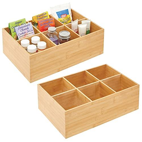 mDesign 2er-Set Teebox – elegante Aufbewahrungsbox mit 6 Fächern aus Bambus – praktische Holzkiste für Teebeutel, Teeei, Gewürze und Co. – naturfarben