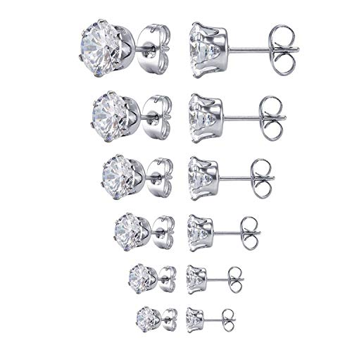 Wolintek 6 Paare Edelstahl Ohrstecker Set Diamant Ohrring Stecker Silber Ohrringe Für Damen und Herren