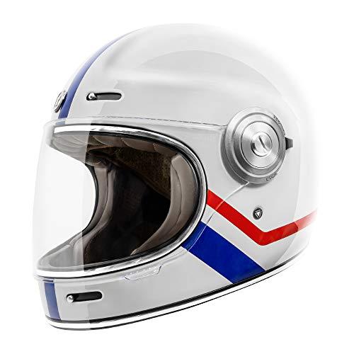 TORC Unisex-Adult T1 Retro Full Face Motorcycle Helmet (Gloss White Allegiance, Medium)