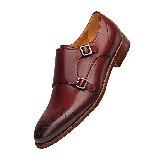 COMOTEK Men's Classic Double Monk Strap Full Grain Leather Shoes,Italian Design Mens Dress Shoes-Adroit Burgundy US10