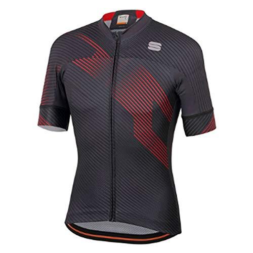 Sportful A1102016 - Maglia da ciclismo, da uomo, modello Bodyfit Team 2.0, colore: antracite/rosso, Uomo, Antracite/Rosso, Medium
