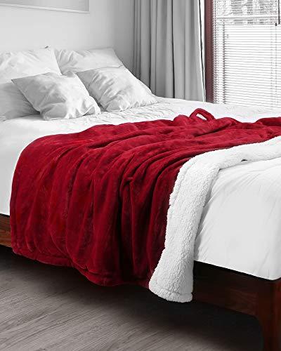 Couverture Électrique 180 x 130 Cm, Plaid Chauffant avec 6 Niveaux de Température, Commande Amovible, Nettoyage Facile, Lavable En Machine, Rouge Et Blanc