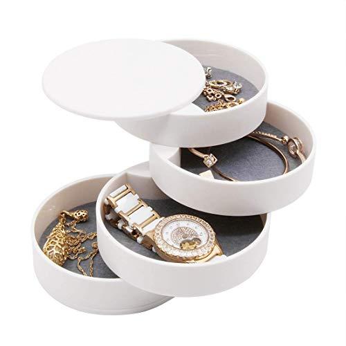 FABSELLER Schmuckkästchen, 360 Grad drehbar, für Ringe, Halsketten, Armbänder, Ohrringe, Behälter, 4 Ebenen, für Schmuck, Make-up, Aufsteller, Weiß