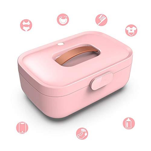 ZXL UV-sterilisator, 99% sterilisatie, ontvochtigings- en deodorantie-heteluchtcirculatiesterilisator voor mobiele telefoons, maskers, bril, ondergoed, babyartikelen, handdoeken, sokken, roze