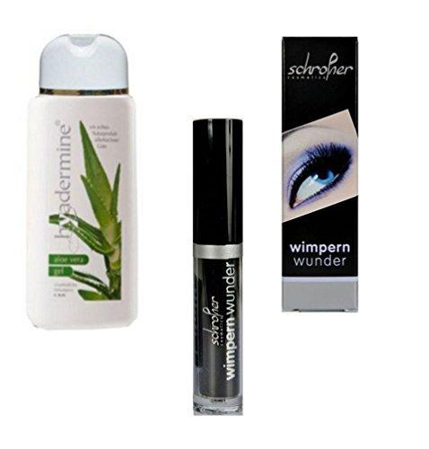 Wimpernserum-Wimpernwunder - 6 ml - Wimpernverlängerung, Wimpernverdichtung - mit Aloe-Vera-Gel 250ml zur Hautpflege, im Hersteller-Set