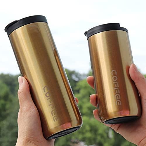 GHJGHJ 350 ml / 500 ml Doble Acero Inoxidable 304 Taza de café Termos a Prueba de Fugas Taza Turbal Thermosmug Botella de Agua para Regalos (Capacity : 500ML, Color : Gold 1pcs)
