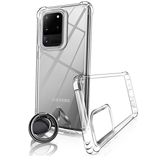 """eSamcore Galaxy S20 Ultra Case, Thin Crystal Clear S20 Ultra Case + Ceramic Wireless Charging Compatible Phone Ring Holder Cell Phone Grip for Samsung S20 Ultra 5G 6.9"""" Protective"""
