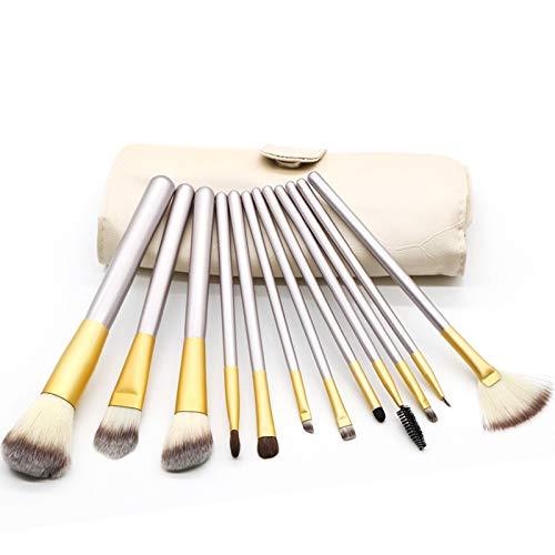 Make-up borstels Fashion hoogwaardige beige schoonheid make-up kwast kit gereedschap, grootte: 22 *  29 cm (12 stuks)