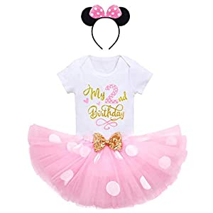 Newborn Infant Cake Smash Wild One Minnie Cartoon First Birthday Clothes for Baby Girls Polka Dots ONE Romper Onesies+Ruffle Tulle Sequin Dress+Mouse Headband Pink-My 2nd Birthday 2 Years