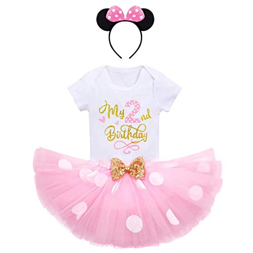 IBTOM CASTLE Cake Smash Birthday Party Clothing for Newborn Toddler Polka Dots Onesies+Sequins Bow Skirt+3D Ear Princess Pageant Christening Baptism Christmas Holiday Tutus My 2nd Birthday Pink