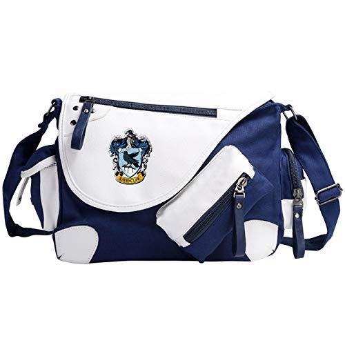 Hogwarts School Messenger Bag Book Bag Cartoon Pattern School Bag Suitable For Teenagers Unisex Blue-R