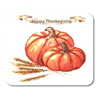 MLsbdゲーミングおしゃれスリップ防止マウスパッドオレンジ感謝祭の日水彩かぼちゃと小麦赤の装飾オフィスノンスリップラバーバッキングおしゃれスリップ防止マウスパッドマウスマット