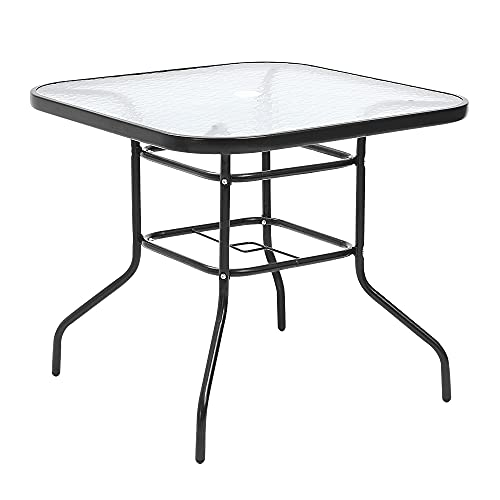 Panana Garden Rectangle Dining Table Tempered Glass Top Metal Frame Coffee Table with Parasol Hole Conservatory Outdoor Patio Poolside Furniture 80 * 72cm