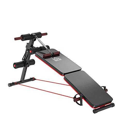 HOMCOM Sit Up Bank Bauchtrainer mit Trainingsseile Trainingsbank Multifunktion Verstellbar&klappbar 110 kg Belastbarkeit Stahl Schwarz+Rot 47x142x50-66 cm