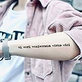 Tatuaje Temporal de Vi Veri Veniversum Vivus Vici (2 Piezas) - www.ohmytat.com