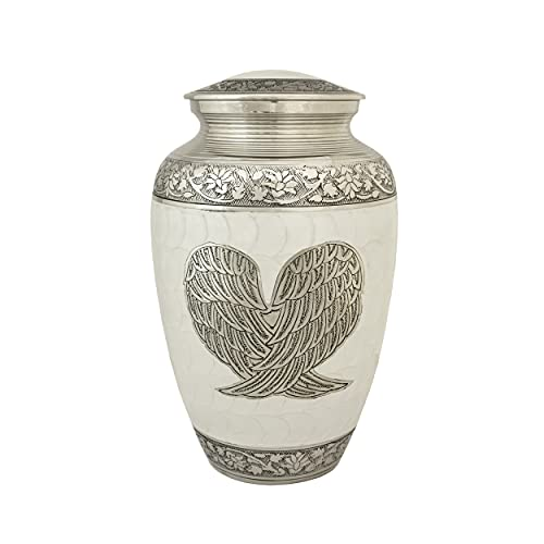 Serene Brass Cremation Urn Antique Design,Detailed Engraving Memorial Container Jar Pot Metal Urns Burial Urns Brass Urns 200 Cubic inches Decorative Gifts Ideas Size 25x15Cm (Angel's Wings)