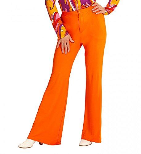 shoperama 70er Jahre Retro Hose in diversen Farben Disco Damen Kostüm Schlaghose Siebziger, Größe:S/M;Farbe:Orange