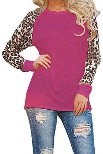 pingrog Sweatshirt Damen Langarm Leopard Patchwork Bluse Oberteile Rundhals Shirt...